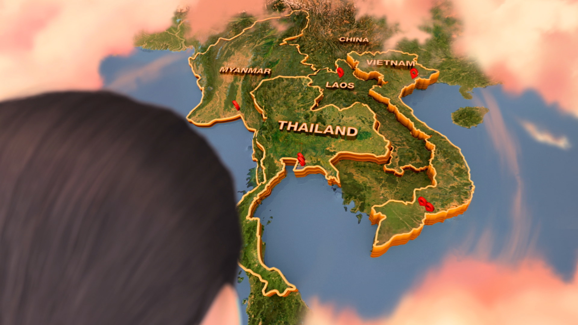 3D map south east Asia