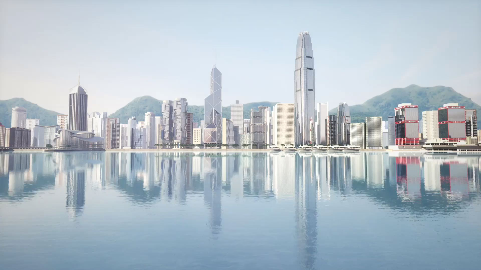 3D Animated Hong Kong Skyline