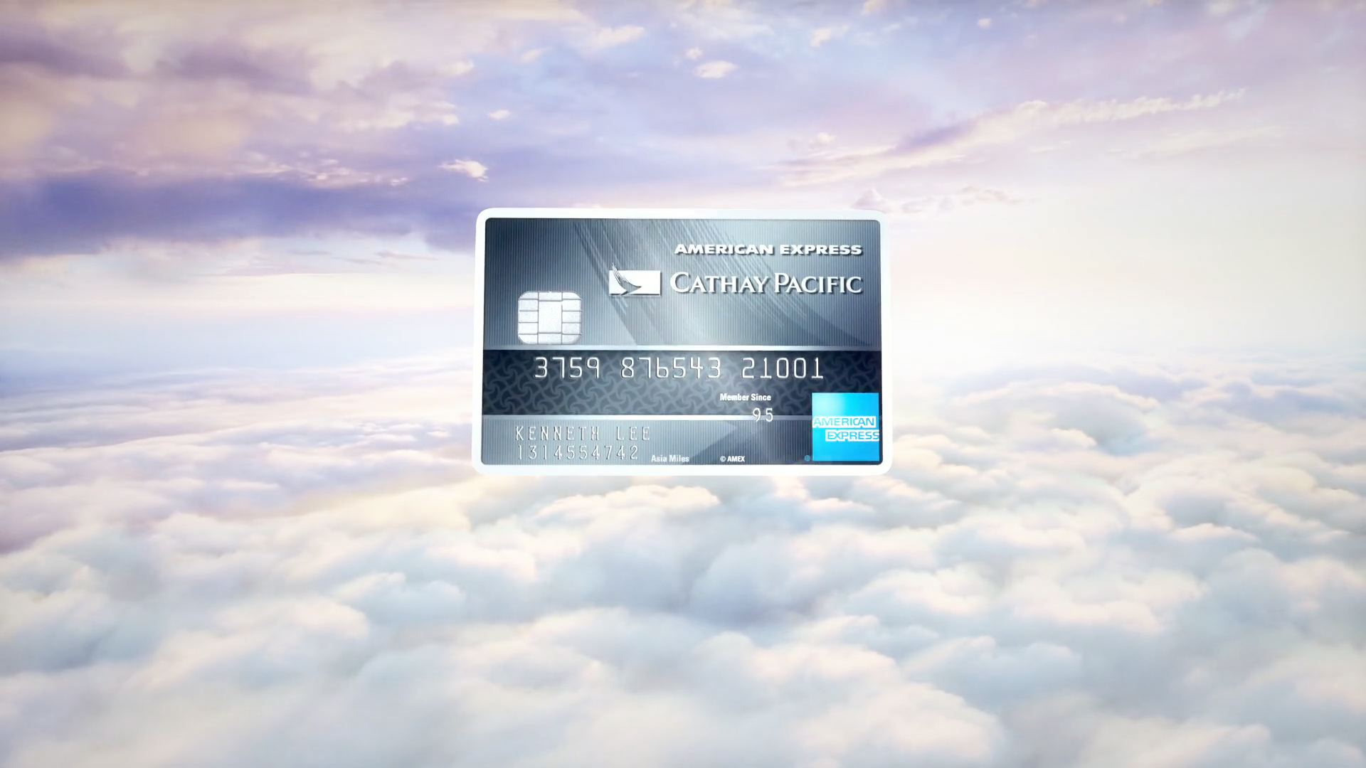 American Express credit card above clouds