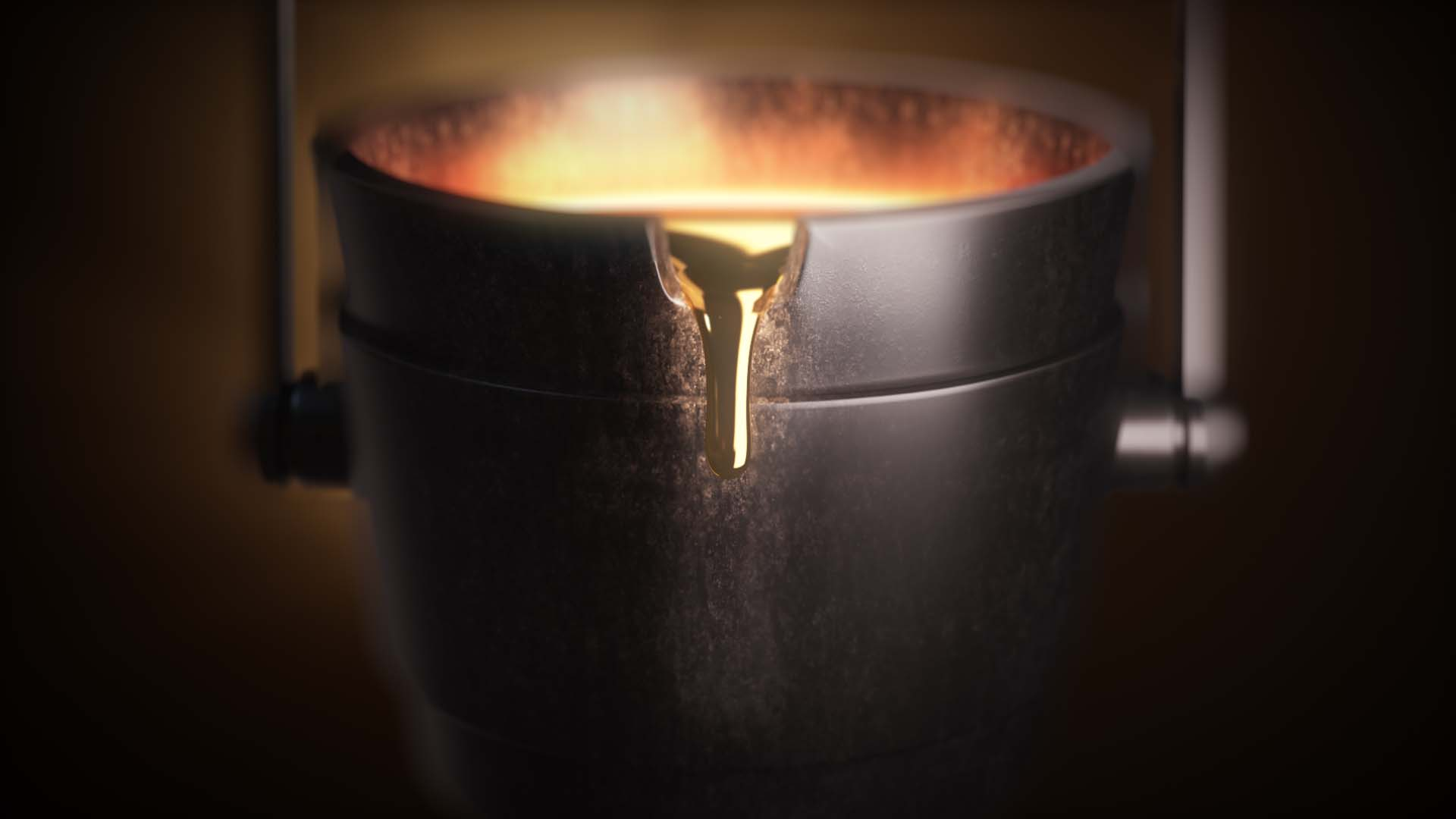 3D animated cast-iron bucket with liquid gold pouring from its spout.