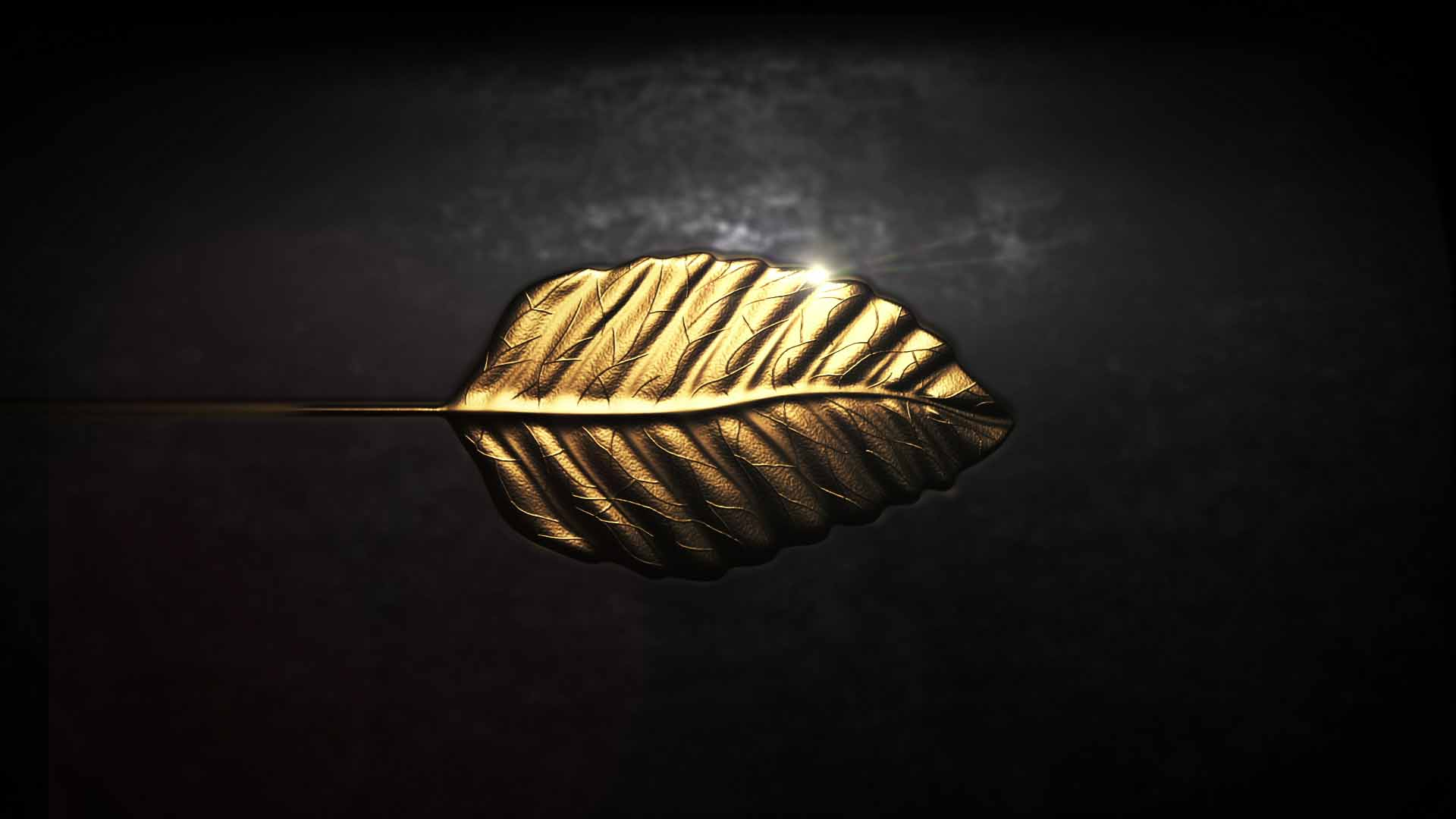 A CG golden leaf