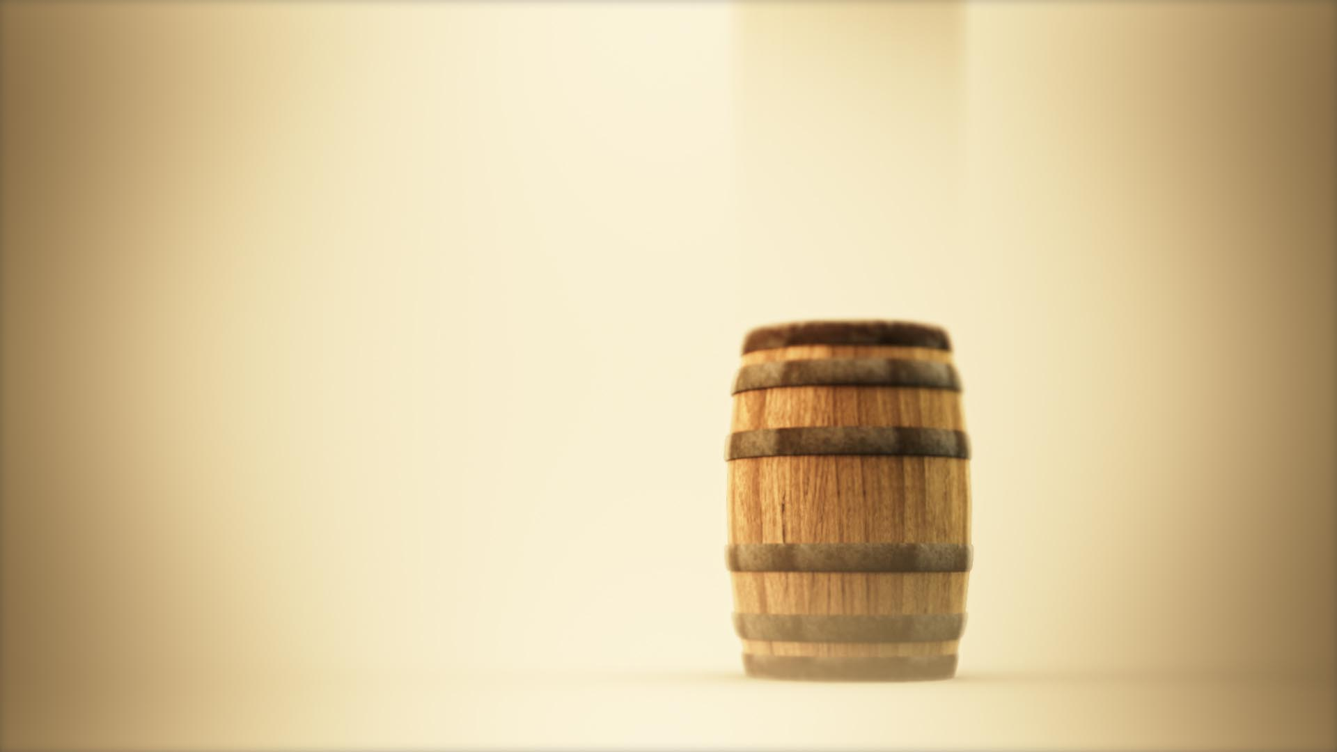 3D animation of a wooden barrel