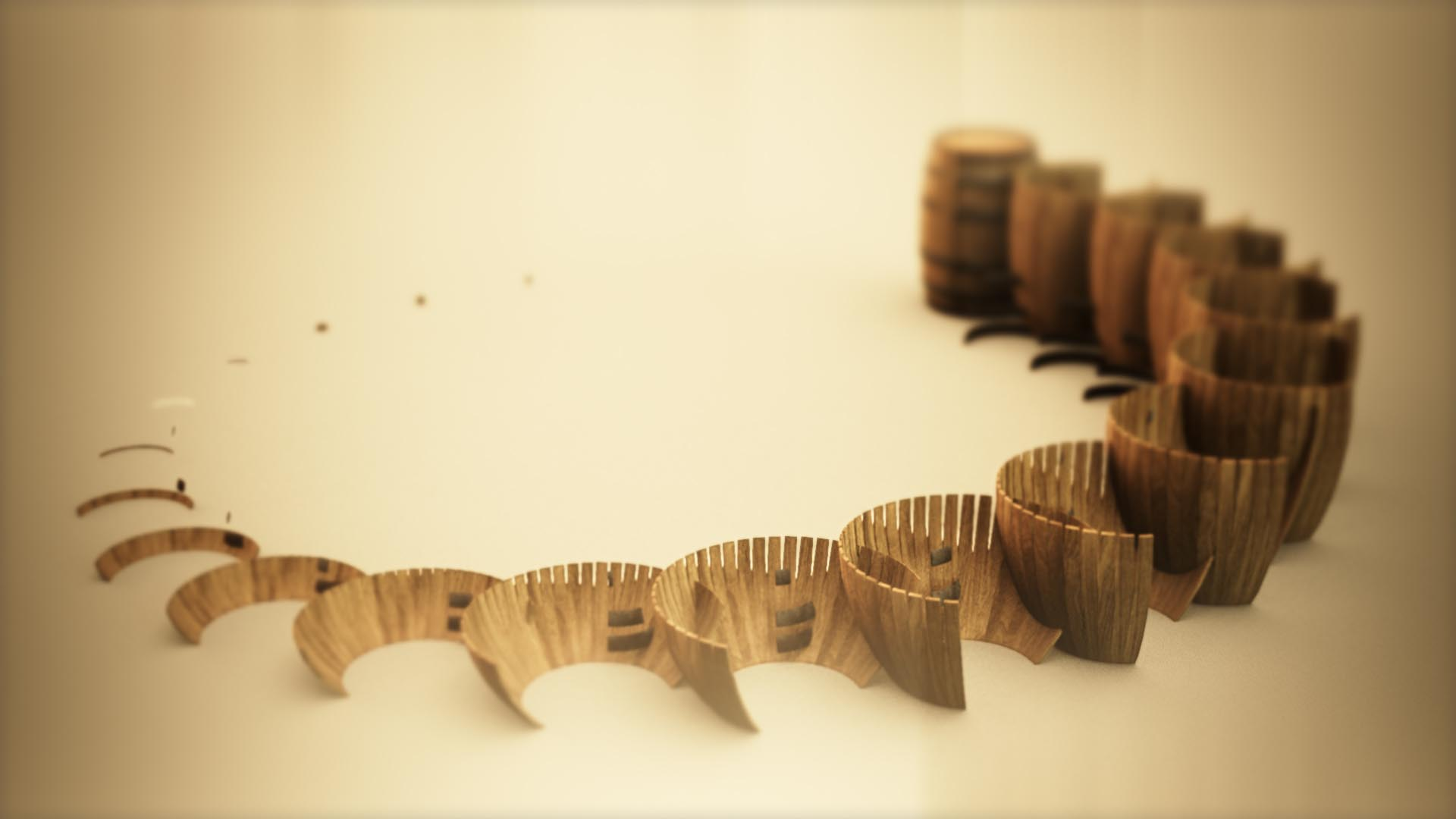 3D animation of wooden barrels forming a structure