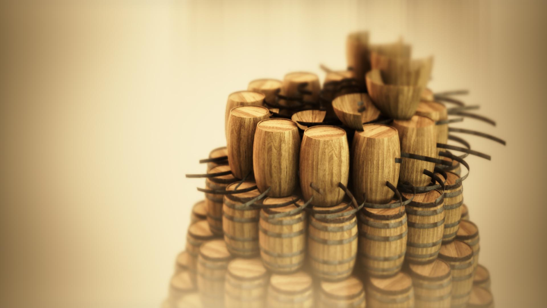 3D animation of a structure created from wooden barrels