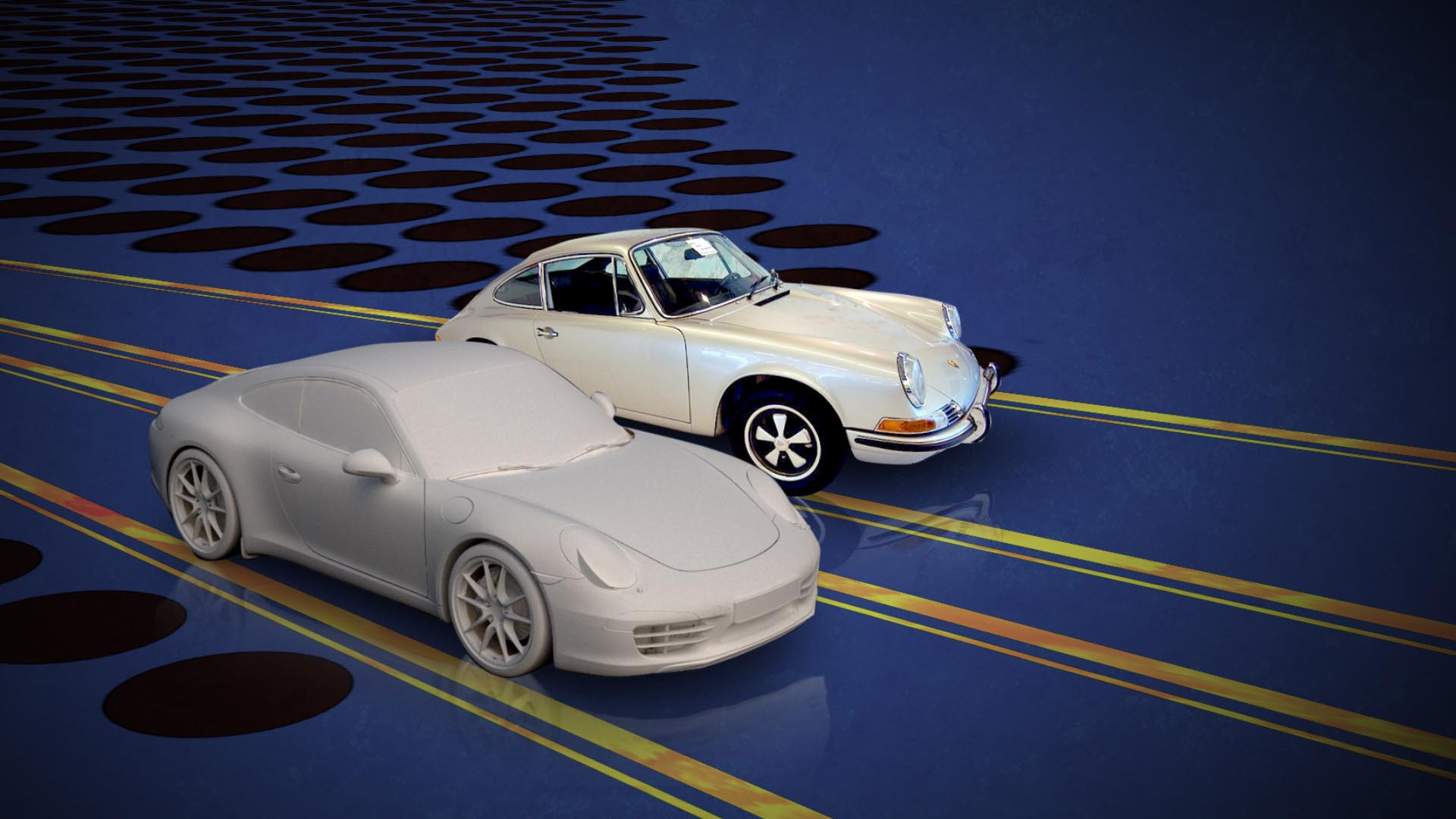 A 3D model of a Porsche next to a real Porsche from the 60's