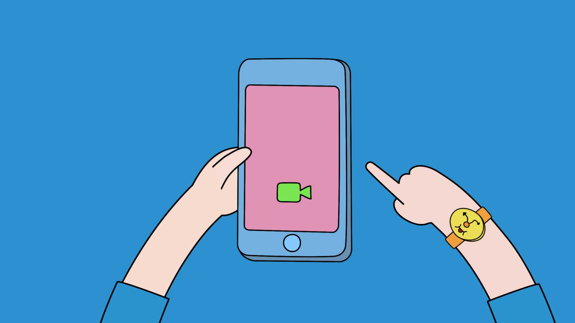 2D animated of hands holding a phone