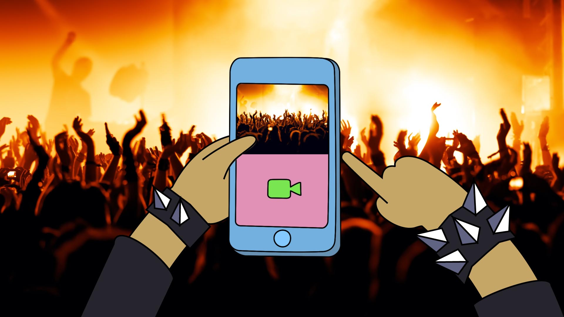 A 2D animated phone capturing a live-action video at a rock concert