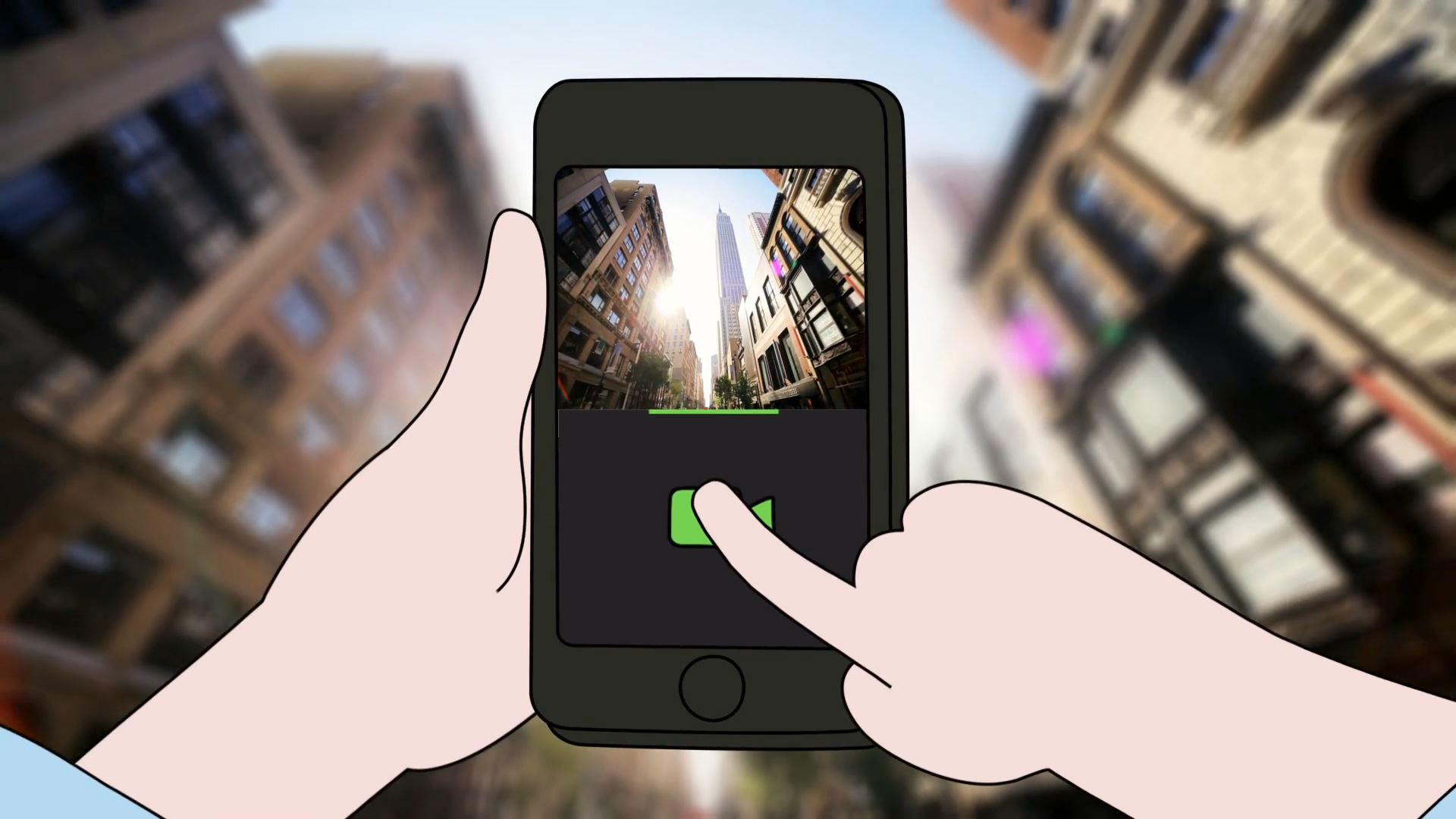 A 2D animated phone capturing a live-action video of a city scene