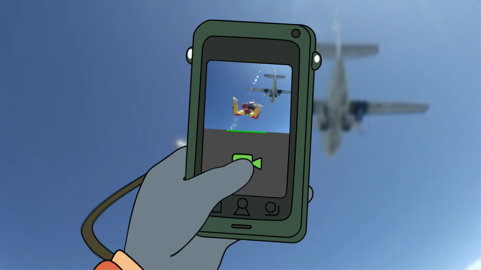 A 2D animated phone capturing a live-action video of skydiving