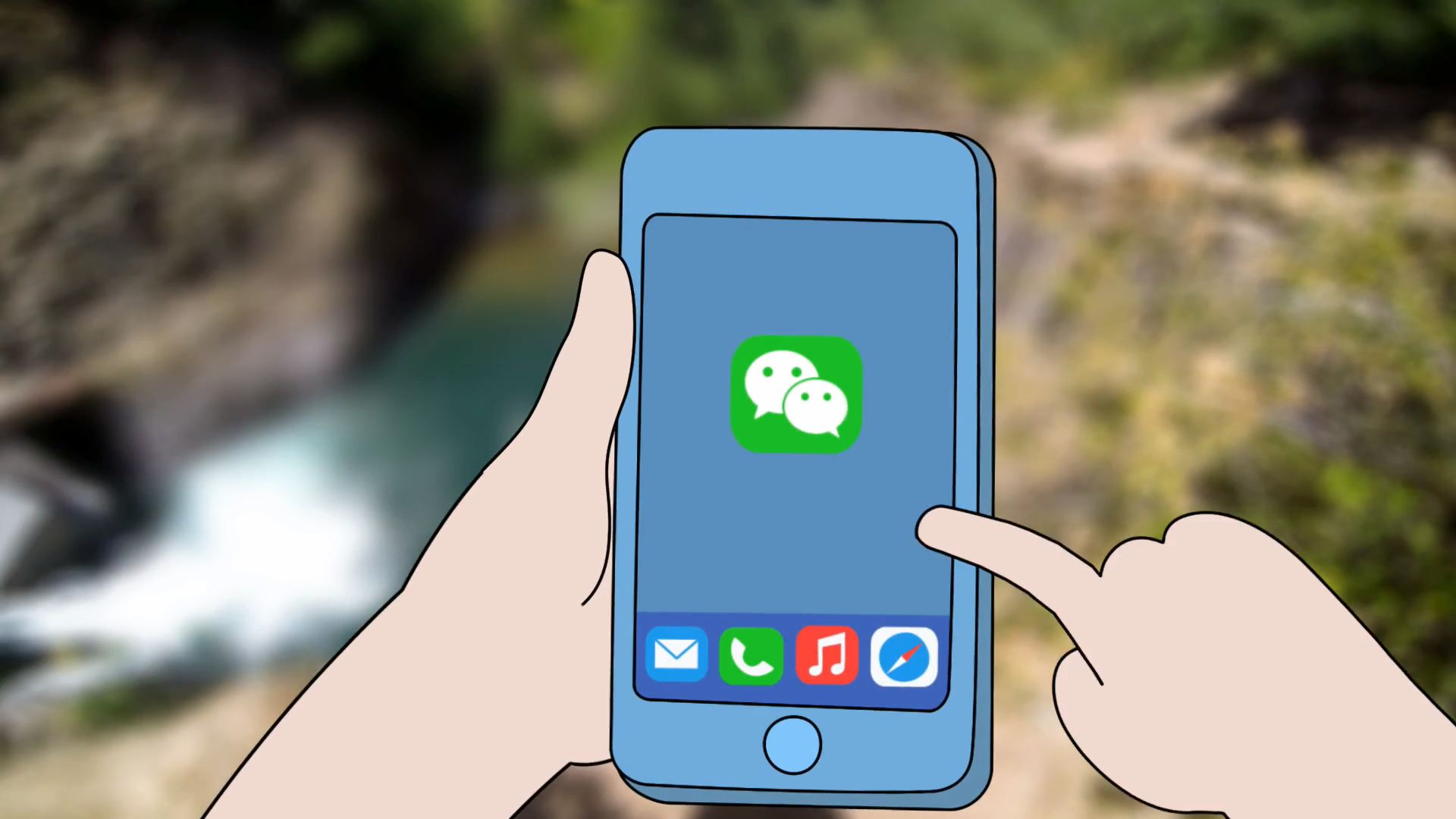 A 2D animated phone capturing a live-action video while cliff jumping