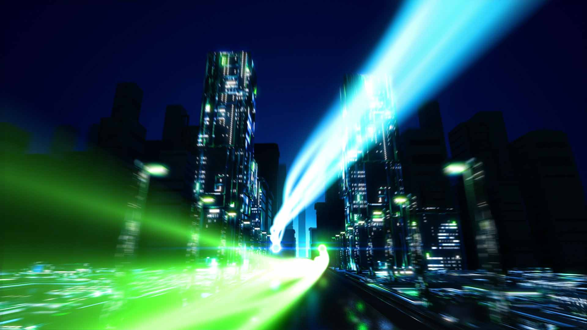 Two animated glowing spheres fly through a futuristic city