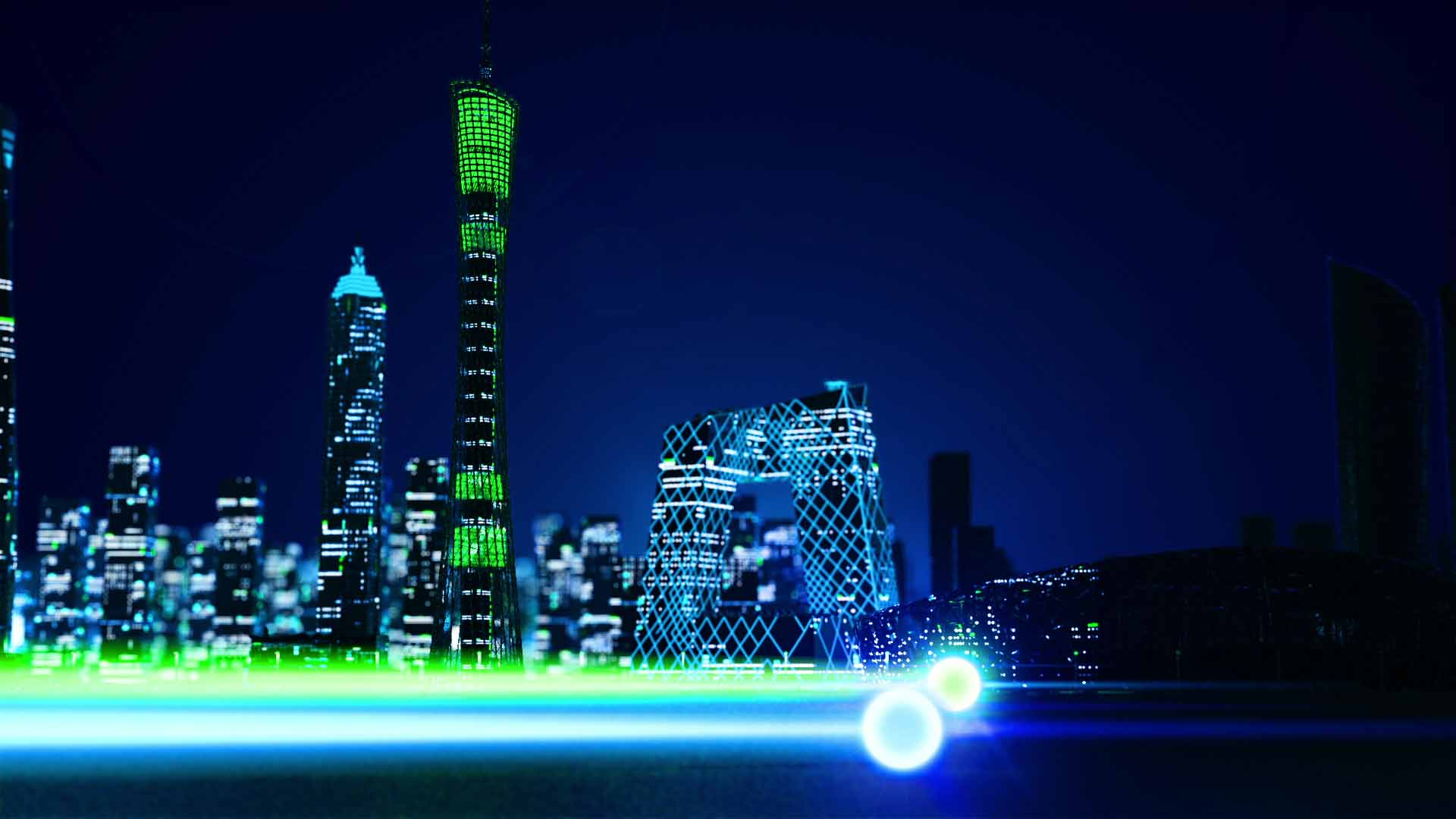 Two animated glowing spheres with light trails fly past Chinese landmarks
