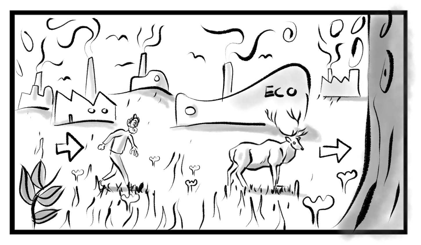 Storyboard artwork of a man following an elk