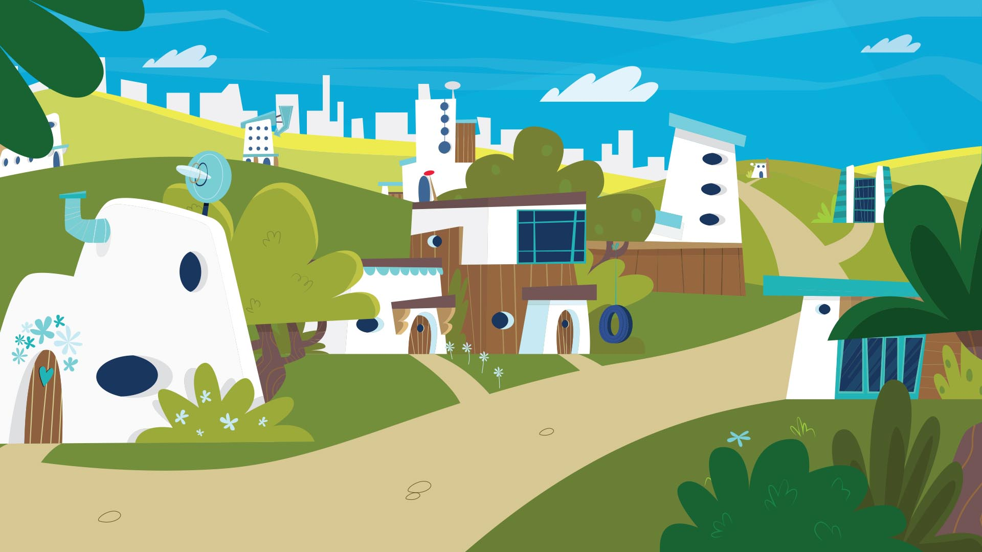 2D animated pretty town
