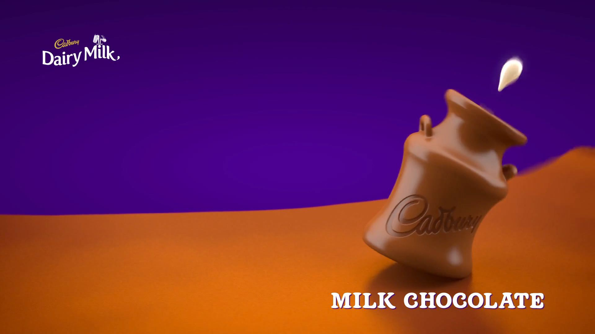 3D animated milk urn made of chocolate