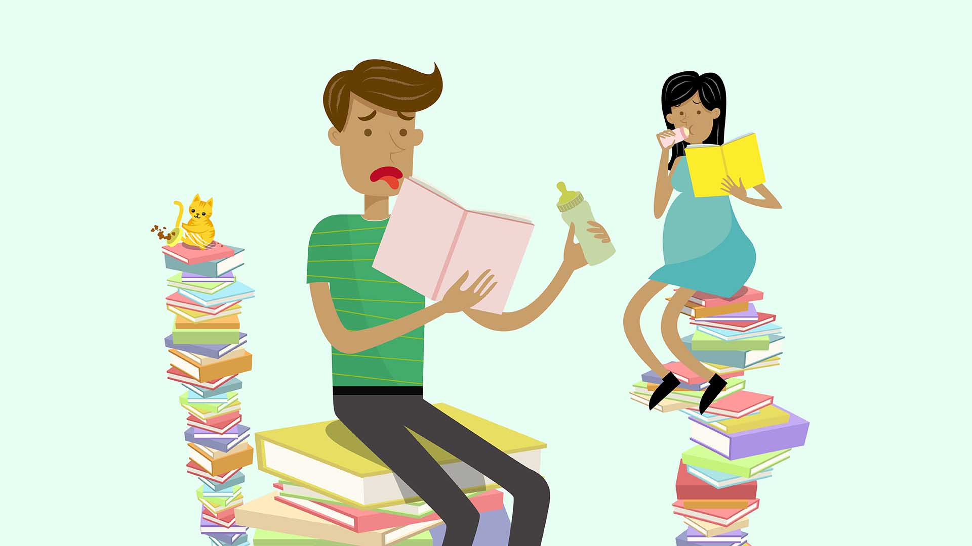 2D animated parents to be atop a pile of books.