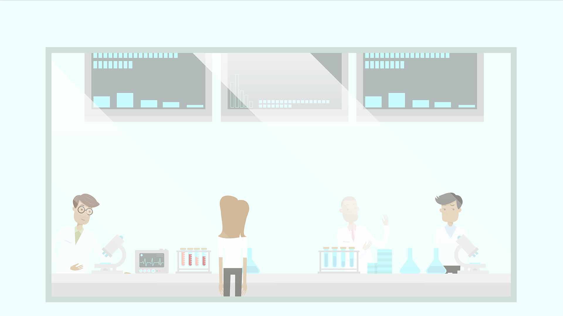 2D animated scientists in a lab