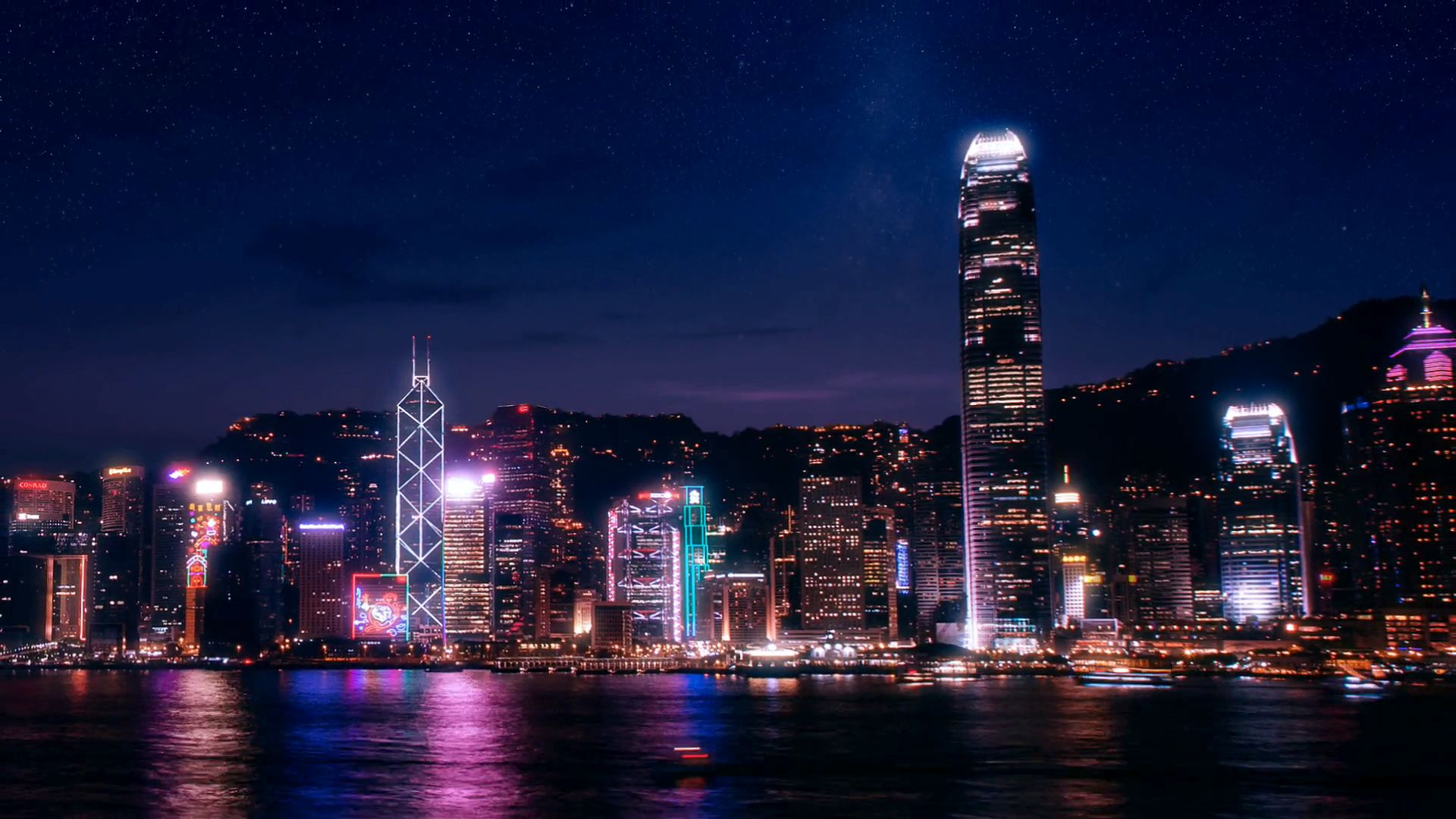 The Hong Kong skyline lights up the night.